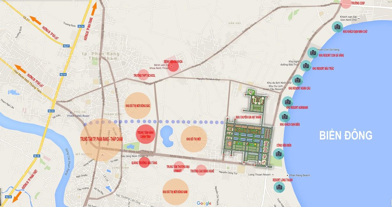 Bản đồ vị trí khu đô thị biển Bình Sơn Ninh Chữ